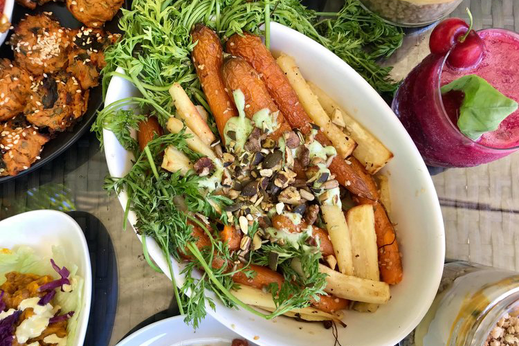 Roasted Parsnips & Carrots with Dukkah & Dill Coconut Dressing